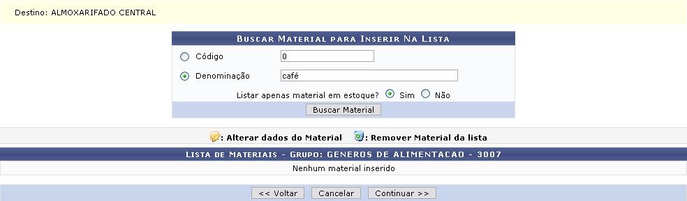 Figura 4: Buscar Material para Inserir na Lista