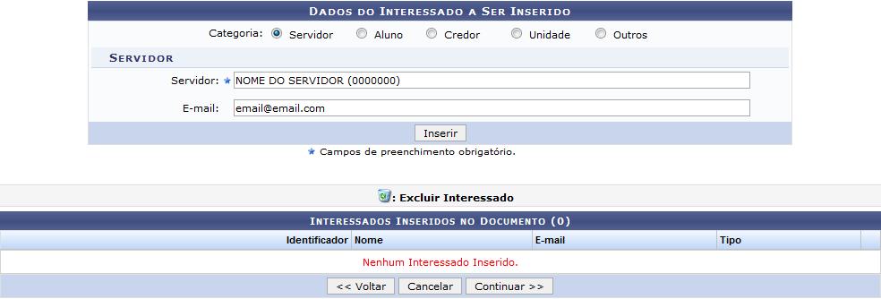 Figura 8: Dados do Interessado a Ser Inserido; Interessados Inseridos no Documento