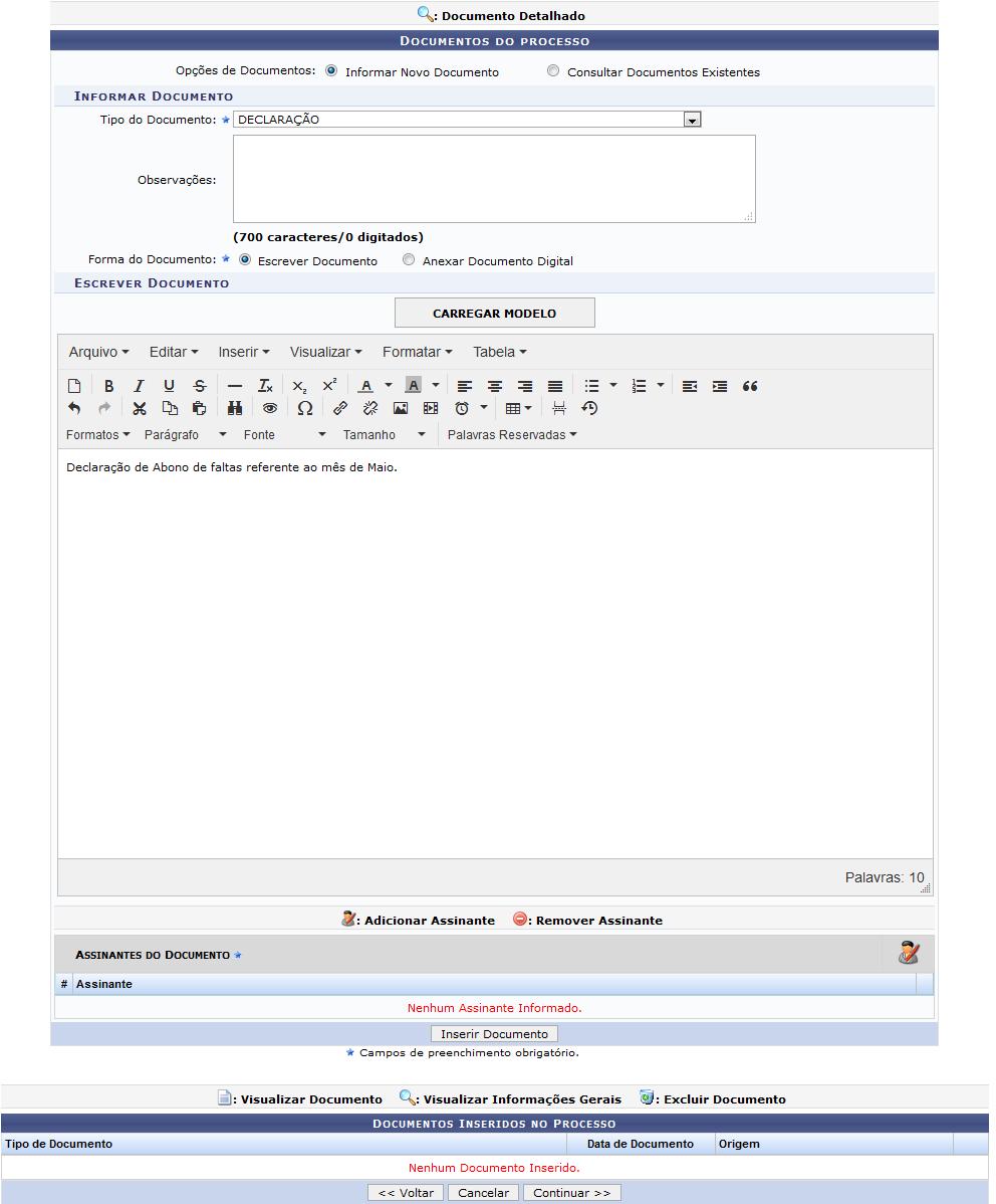 Figura 3: Documentos do Processo; Documentos Inseridos no Processo; Escrever Documento