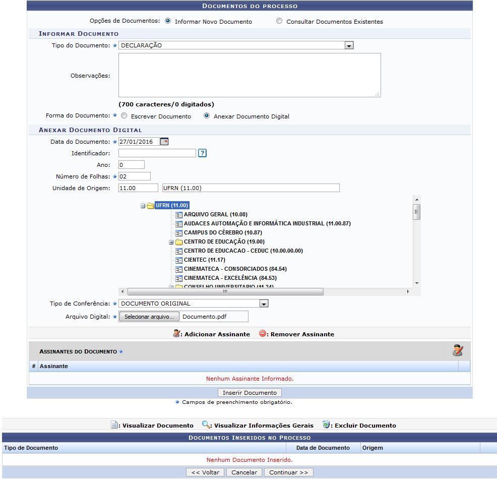 Figura 5: Documentos do Processo; Documentos Inseridos no Processo; Anexar Documento Digital