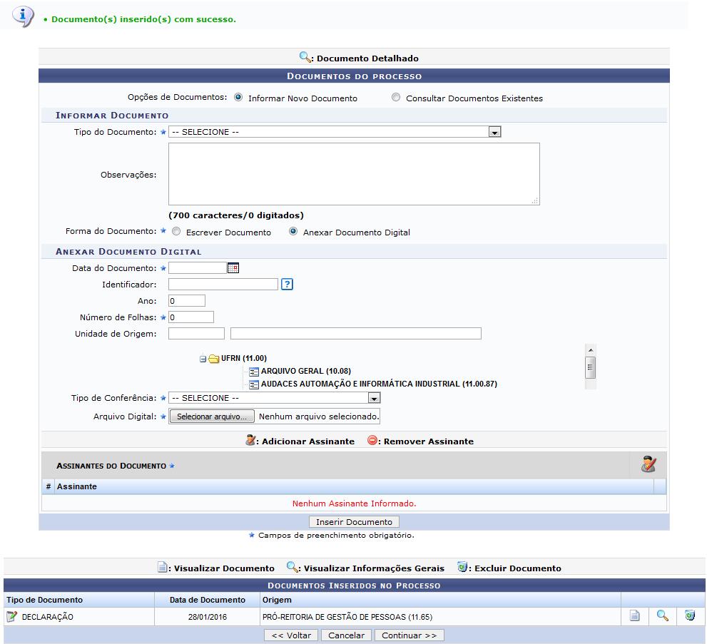 Figura 8: Mensagem de Sucesso da Operação; Documentos do Processo; Documentos Inseridos no Processo