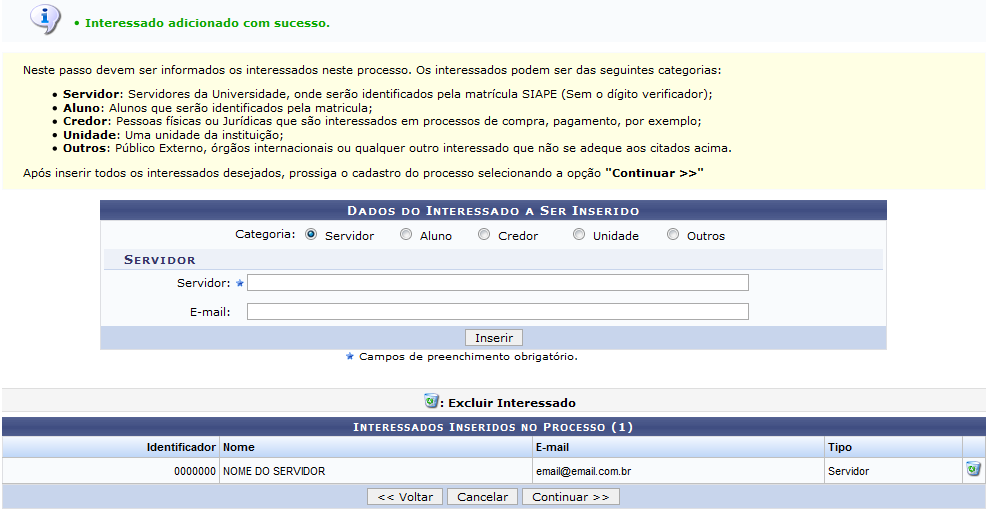 Figura 14: Mensagem de Sucesso; Dados do Interessado a Ser Inserido; Interessados Inseridos no Processo
